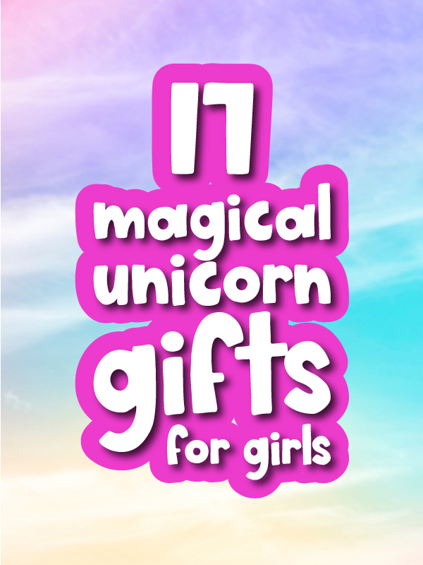 pastel rainbow background with the words 17 magical unicorn gifts for kids