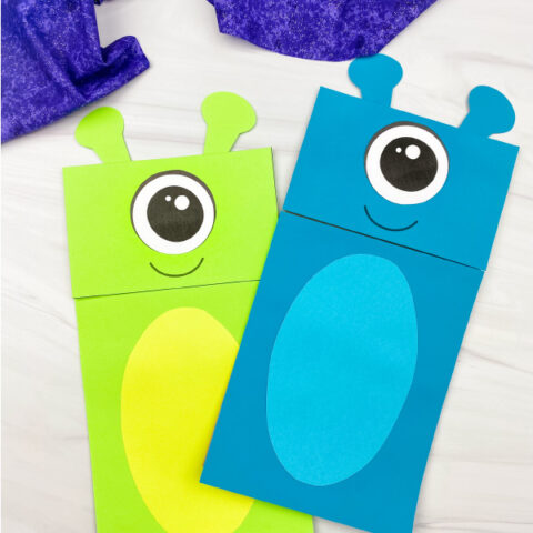 2 alien paper bag puppet crafts