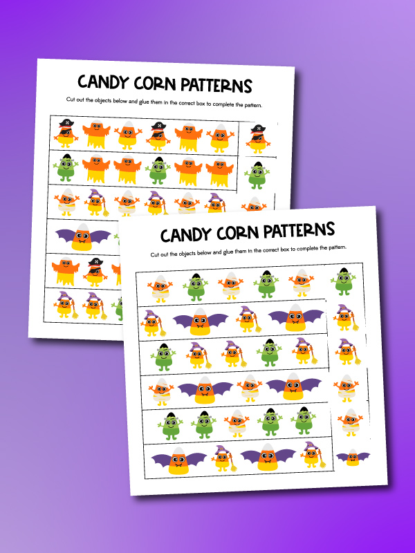 2 candy corn pattern worksheets