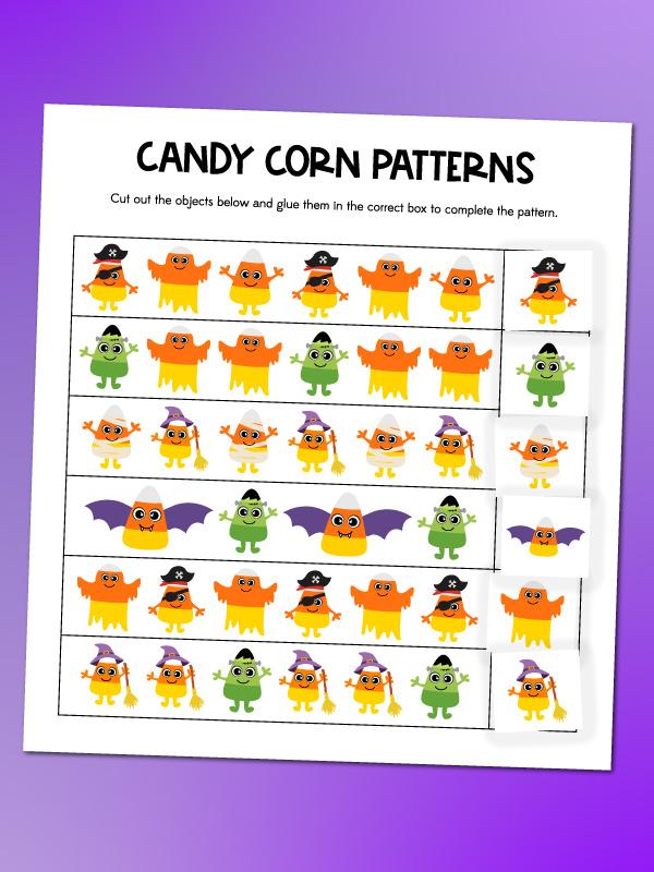 candy corn pattern worksheet