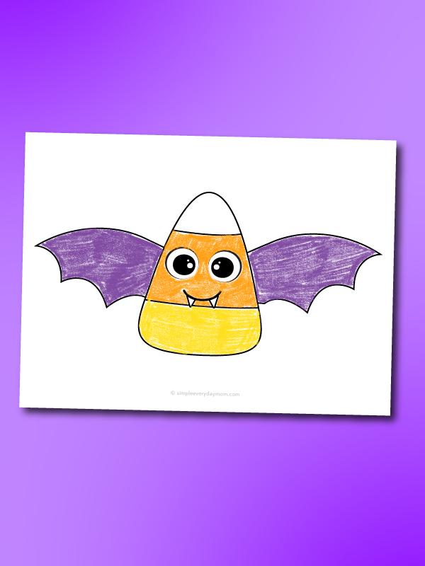 vampire bat candy corn coloring page