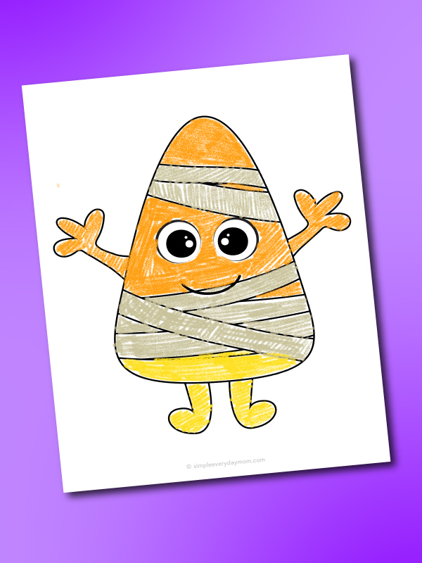 mummy candy corn coloring page