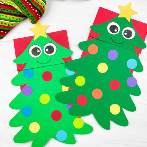 2 christmas tree puppet crafts