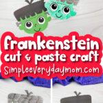 Frankenstein craft image collage with the words Frankenstein cut & paste craft