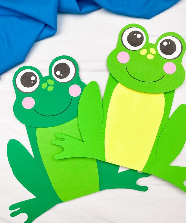 2 paper bag frog crafts