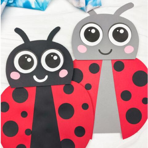 2 paper bag ladybug crafts