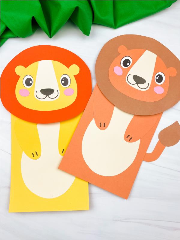2 lion paper bag puppets