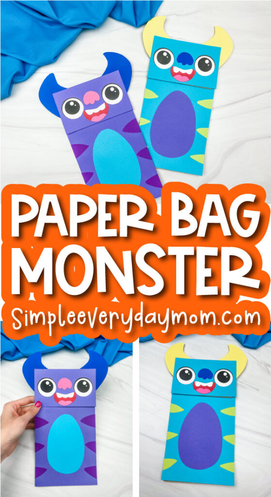 monster paper bag puppet craft image collage with the words paper bag monster