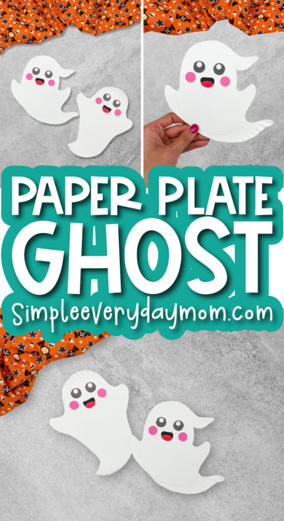 paper plate ghost craft image collage with the words paper plate ghost