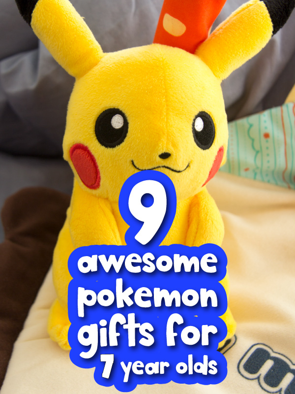 Pikachu plush with the words 9 awesome Pokemon gifts for 7 year olds