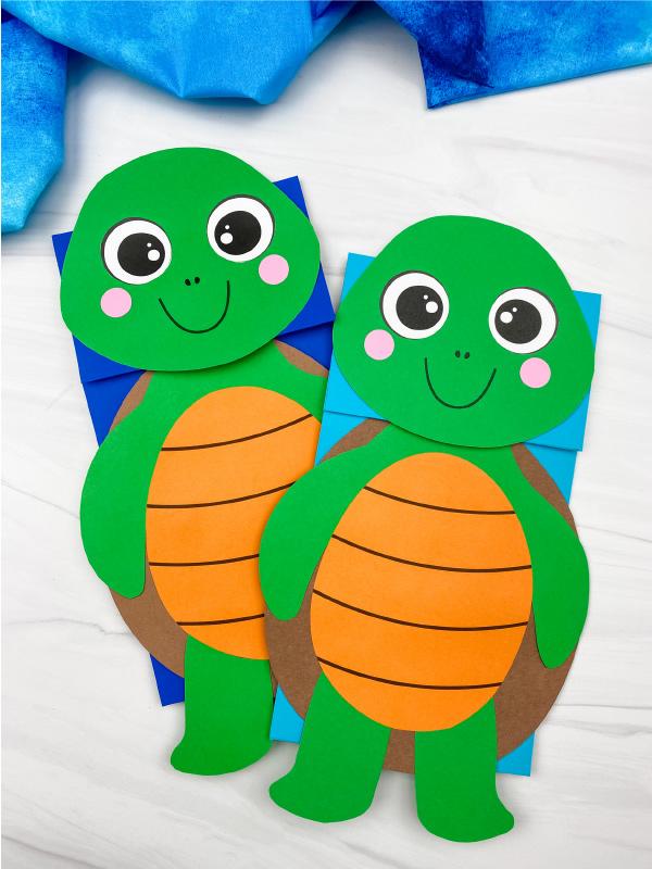 2 paper bag turtle crafts