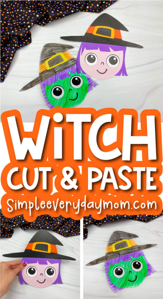 witch cut and paste craft image collage with the words witch cut & paste