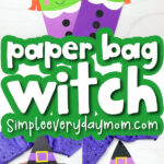 witch puppet craft image collage with the words paper bag witch