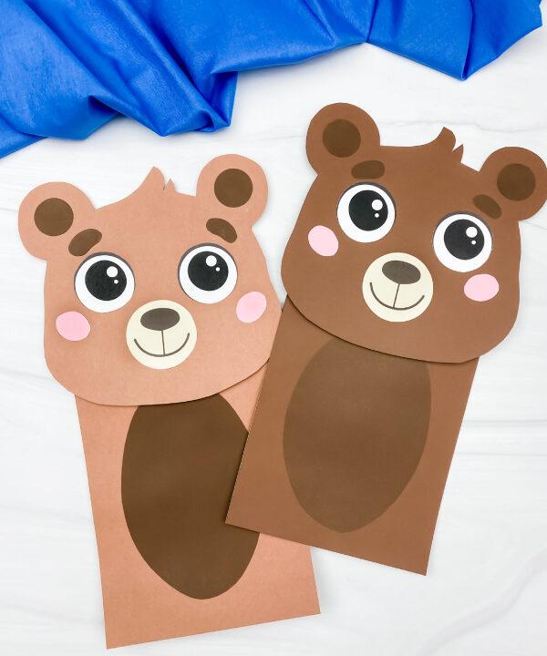 2 brown bear paper bag puppet crafts