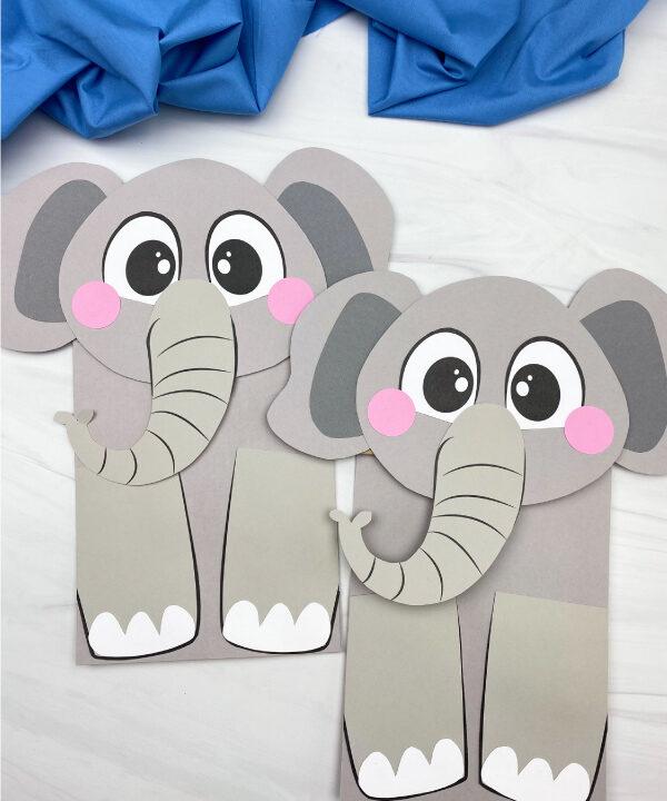 2 paper bag elephant crafts