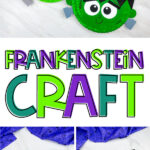 collage of paper plate frankenstein craft images with the words Frankenstein craft in the middle