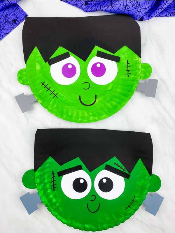 light green and dark green paper plate Frankenstein crafts