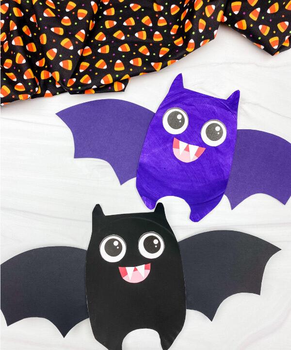 2 paper plate bat crafts