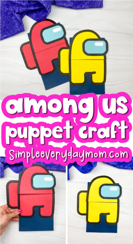 paper bag Among Us craft image collage with the words among us puppet craft