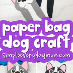 dog paper bag puppet craft image collage with the words paper bag dog craft