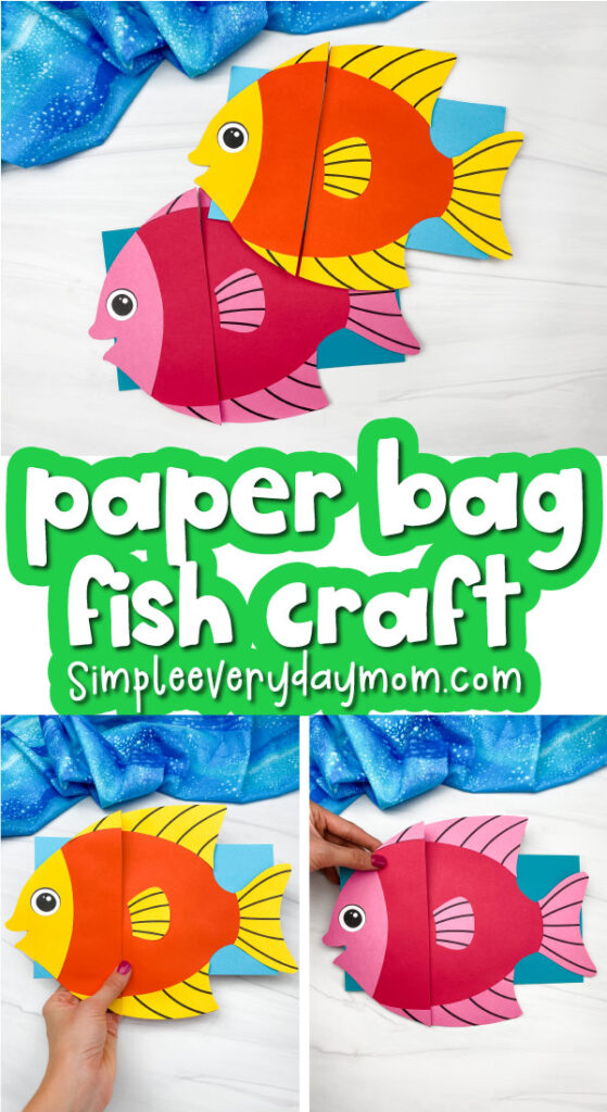 fish paper bag puppet craft image collage with the words paper bag fish craft