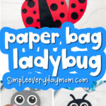 paper bag ladybug craft image collage with the words paper bag ladybug craft
