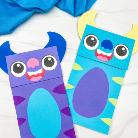 Monster Paper Bag Puppet Craft [Free Template]