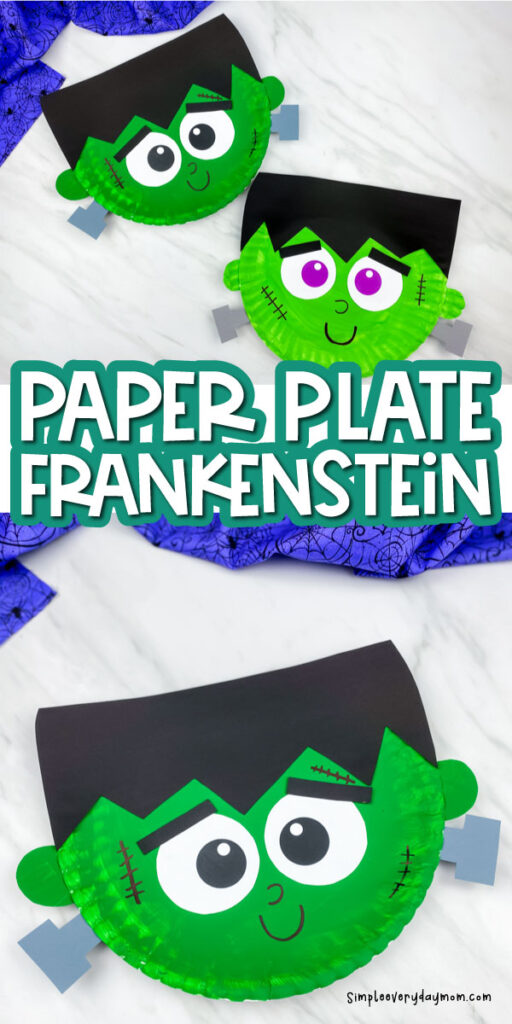 collage of paper plate frankenstein craft images with the words paper plate Frankenstein in the middle