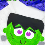 two paper plate frankenstein crafts with the words Halloween Frankenstein craft on the top