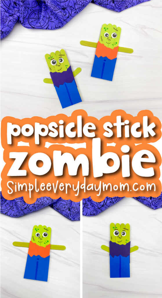 zombie popsicle stick image collage with the words popsicle stick zombie