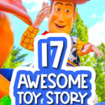 Giant Woody background with the words toy story gift ideas for kids