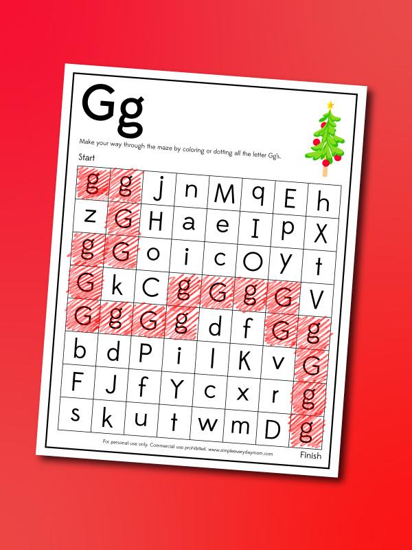 Grinch letter g maze