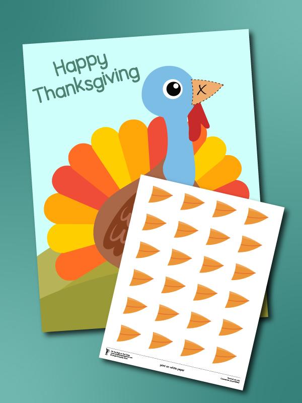 pin the beak on the turkey printable mockup
