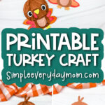 turkey craft image collage with the words printable turkey craft