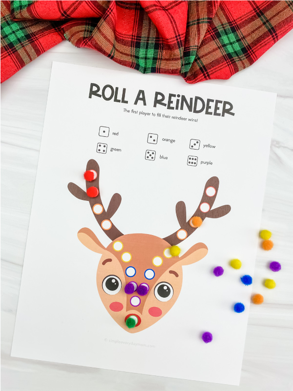printable roll a reindeer game