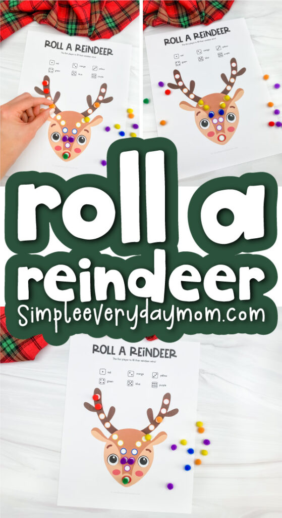 printable reindeer game image collage with the words roll a reindeer