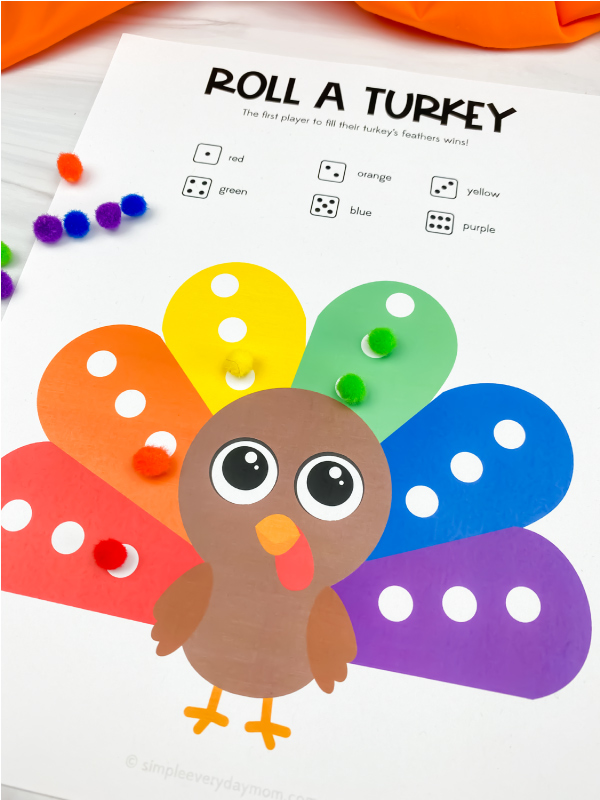 close up roll a turkey printable game