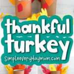 oatmeal container turkey craft image collage with the words thankful turkey