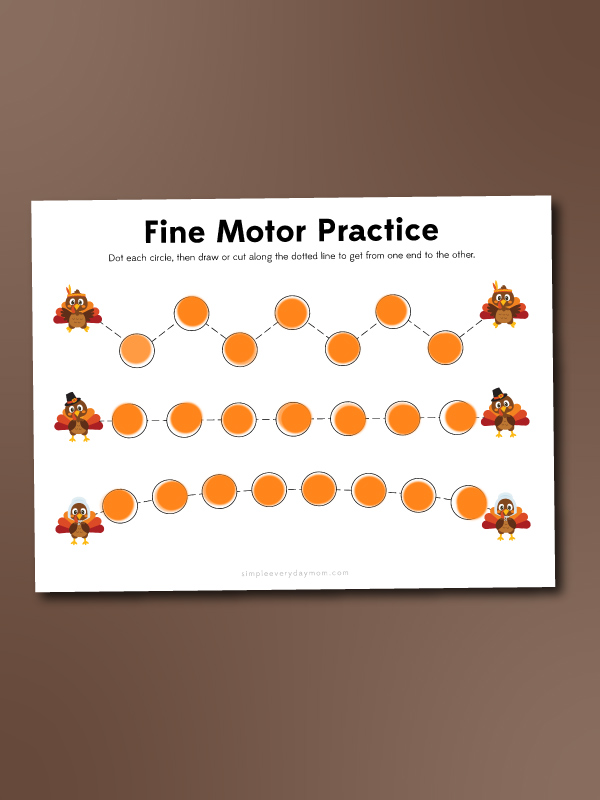turkey do a dot fine motor worksheet