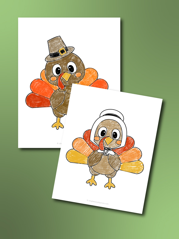 turkey coloring page with pilgrim hat and bonnet