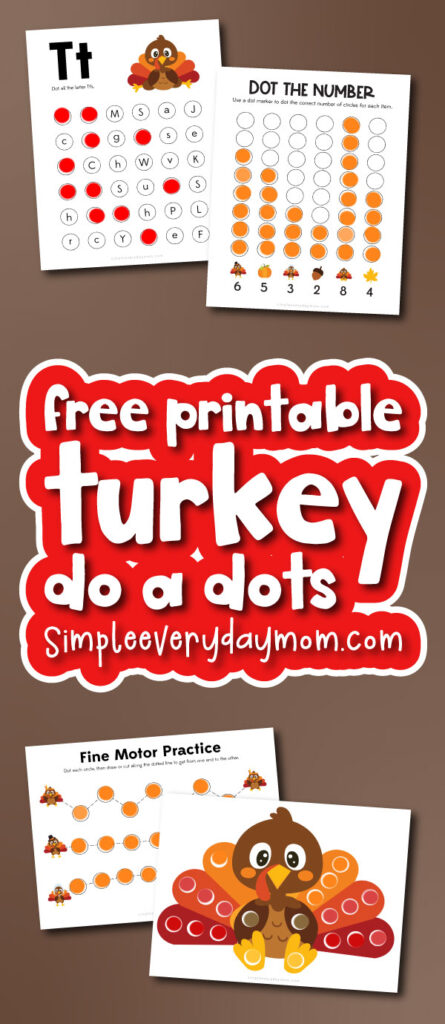 turkey do a dot printables with the words free printable turkey do a dots