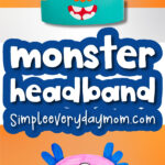 monster headband craft image collage with the words monster headband in the middle