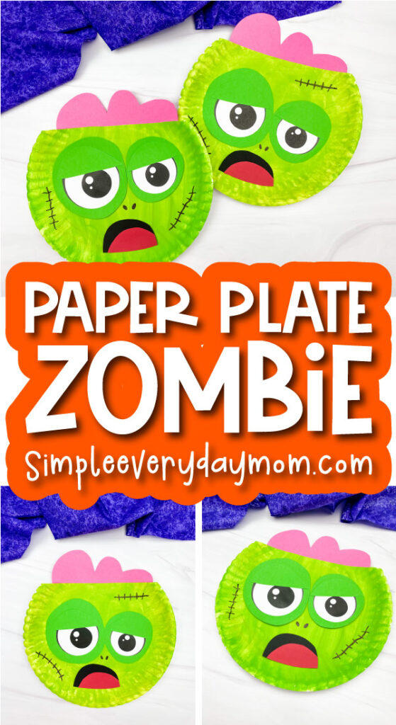 paper plate zombie craft image collage with the words paper plate zombie