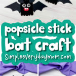 bat popsicle stick craft image collage with the words popsicle stick bat craft
