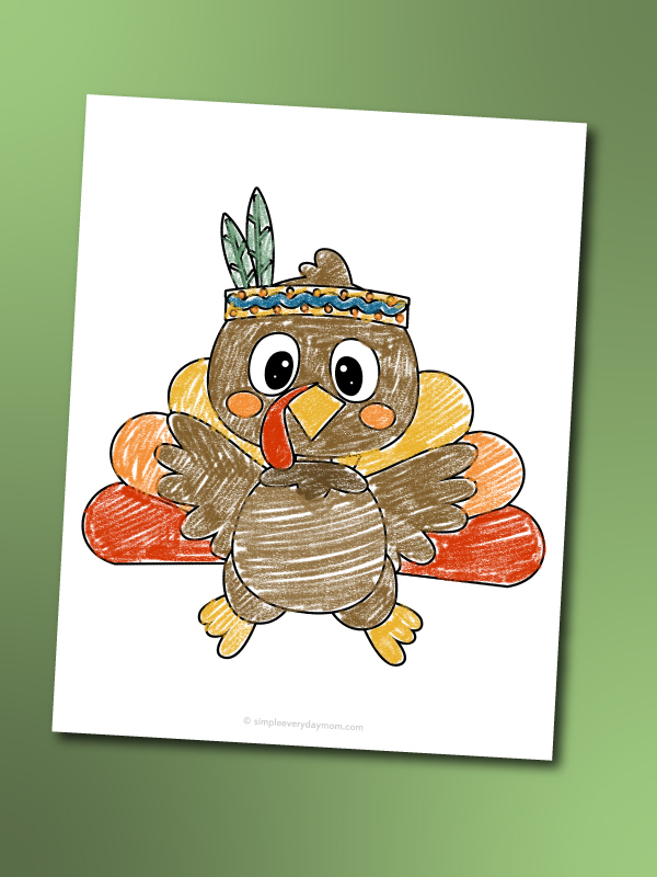 turkey coloring page with native american headband