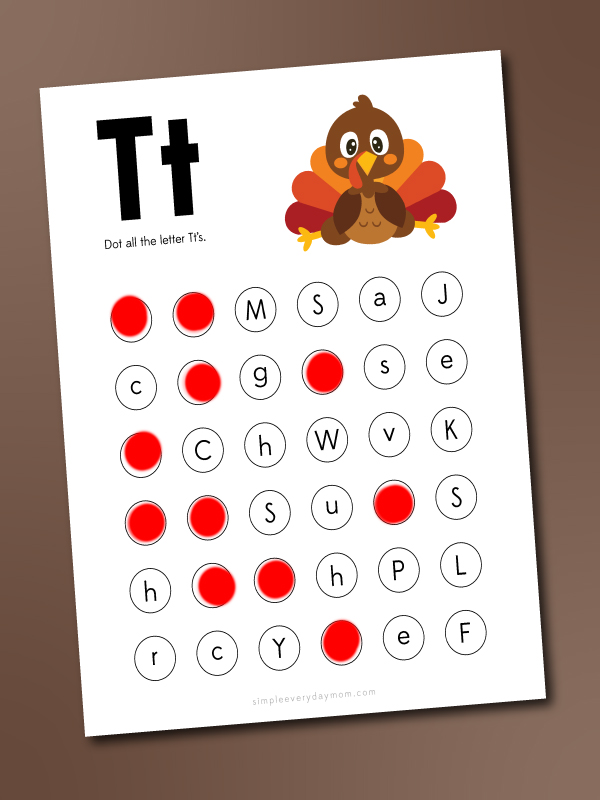 t is for turkey do a dot printables
