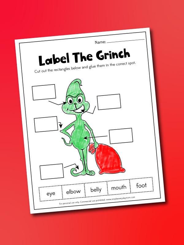 label a grinch worksheet