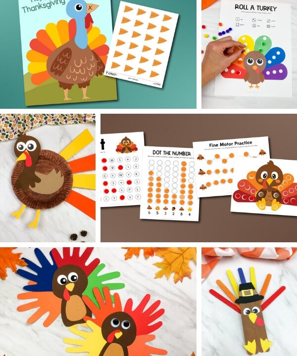 turkey activities for kids image collage