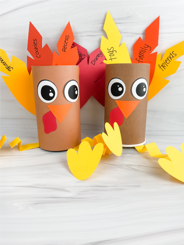 2 thankful turkeys made from oatmeal containers