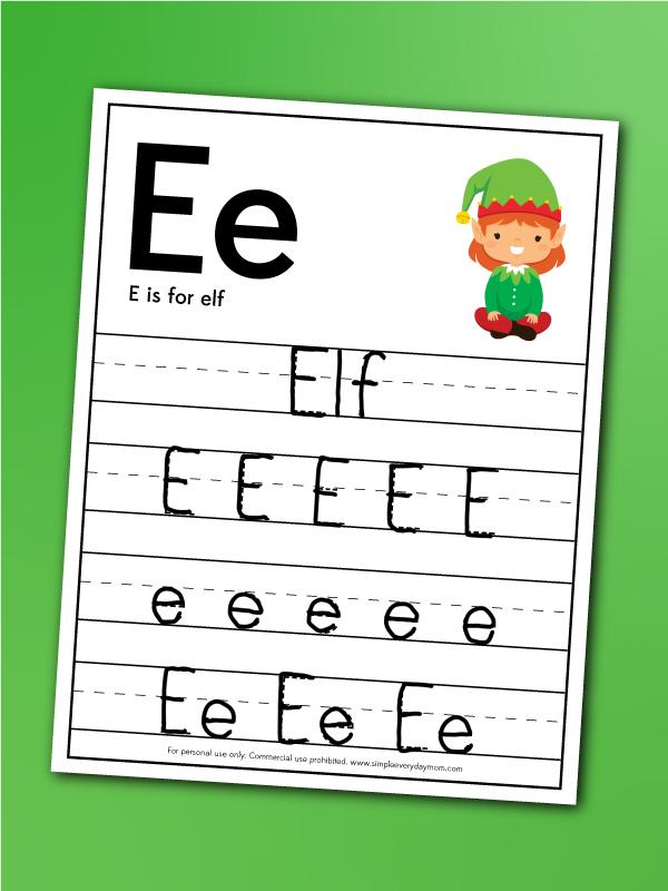 Elf handwriting worksheet